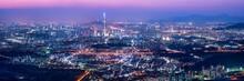 Seoul Skyline Panorama At Night