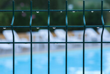 Close-up Of A Fence Wet From The Rain, In The Background, Out Of Focus, Deck Chairs And Swimming Pool.