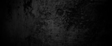 Scary On Damaged Grungy Crack And Broken Concrete Bricks Wall And Floor, Black And White Photo Concept Of Horror And Halloween