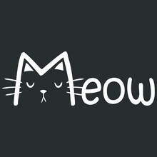 Meow Mens Art 3 Design Vector Illustration Print Poster Wall Art Canvas