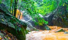 Wang Sao Thong Waterfall In Tropical Rainforest Koh Samui Thailand.