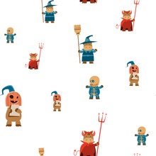 Pattern With Horse Disguised As A Halloween Costume. Happy Halloween Banner, Holiday, Decoration Horror Party. Disguised Animals In Cute Cartoon Monsters.