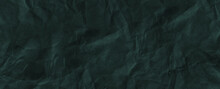 Luxury Green Royal Crumpled Paper Texture Background. Crush Paper So That It Becomes Creased And Wrinkled Wallpaper Banner For Presentations And Ads