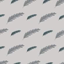 Boho Seamless Pattern In Grey Pale Style With Feather Shapes. Abstract Hand Drawn Nature Ornament.