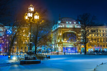 Saint Petersburg. Russia. Winter Evening In St. Petersburg. Nevsky Prospect. Ostrovsky Square Is Lit By Lanterns. Eliseevsky Shop. Lights Of The Evening City. Winter Trip To Russia.