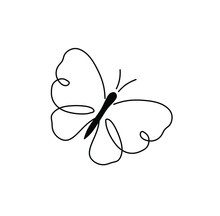 Vector Isolated Cute Cartoon Butterfly One Line Drawing. Simple Minimal Tiny Black Line Butterfly