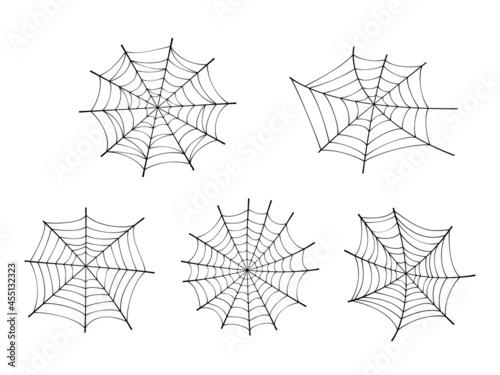 Fotografie, Obraz Set of fancy spider web at white background.