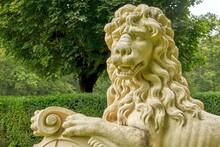 Close-up Of A Lion Sculpture, Nordkirchen Castle, North Rhine-Westphalia, Germany