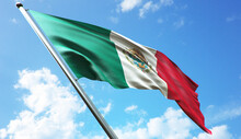 3D Rendering Illustration Of The Mexico Flag With A Blue Sky Background