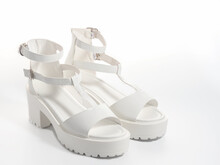White Women's Synthetic Leather Shoes For Advertising