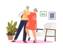 Cute Senior Couple Dancing Tango. Elder Man And Woman Dance On Retirement. Active Leisure