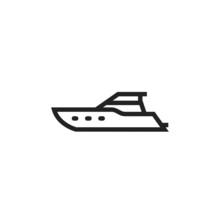 Yacht Line Icon. Luxury Sea Transport Symbol. Isolated Vector Image