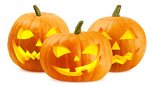 Halloween Pumpkin Isolated On White Background, Clipping Path, Full Depth Of Field