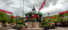 Horizontal Photo In Color About Ornaments On Buildings, In Honor To Celebrate Mexican Independence Day