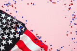Fototapeta Kawa jest smaczna - USA Veterans Day banner design. American flag and confetti on pink background. USA Independence Day, Memorial Day, US Labor day concept.