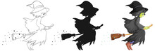 Witch With Broomstick In Color And Outline And Silhouette Cartoon Character Isolated On White Background