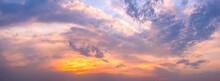 Panoramic Landscape Of Bright Red Orange Sunrise Sunset
