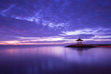 Gazebo Viewpoint And Promenade, Tropical Beach Scene. Long Exposure Image Of Sunrise With Colourful Cloudscape At The Balinese Beach Resort Of Sanur