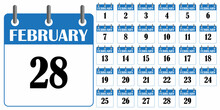 Blue Calendar February Icon. Winter Season. Page Of Calendar. Schedule Symbol. Vector Illustration. Stock Image.