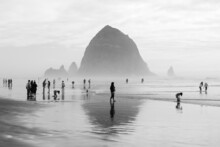 Black & White Picture Of People At The Beach On A Foggy Day,