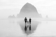 A Family Walking On The Beach In The Fog Towards Haystack Rock With A Reflection
