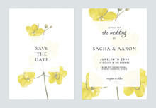 Floral Wedding Invitation Card Template Golden Shower Flowers On White