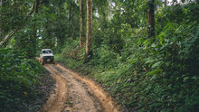 A Muddy Road In An Evergreen Forest Has An Off-road Vehicle Parked In The Middle Of The Road. Adventure Concept