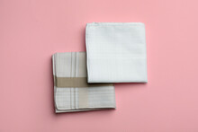 Stylish Handkerchiefs On Pink Background, Flat Lay
