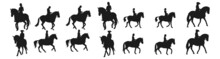 People Riding Horses Silhouettes Collection. Silhouette Horse Running, Collection