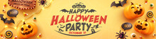 Happy Halloween Party Poster Or Banner With Ghost Pumpkin,bat,candy And Halloween Elements..Website Spooky,Background Or Yellow Banner Halloween Template.Vector Illustration Eps 10