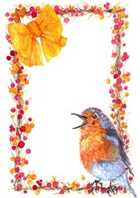 Watercolor Autumn Card. A Hand-drawn Singing Bird Robin Sitting On A Berry Frame With An Orange Bow And An Empty Space For Your Text Here.berry Wreath