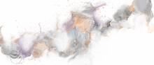 アルコールインクアートのミニマルな抽象背景)グレーにゴールド 流動体 ロマンティック バナー 繊細 煙
