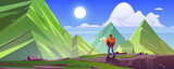 Mountain landscape with hiker man with backpack and map. Vector cartoon illustration of rocks and high peaks and tourist on stone ledge. Concept of travel and hiking