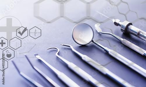 Equipment for the dental office. Orthopedic Instruments. Dental technician with working tools. Dentist metal tools.