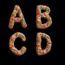 Oil Paint Multicolor Splotchy Alphabet - Letters A-D