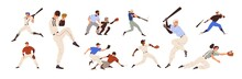 Baseball Players Set. Pitchers, Catchers, Batters And Hitters Throwing, Catching And Hitting Ball With Bats And Gloves. American Sports Game. Flat Vector Illustration Isolated On White Background