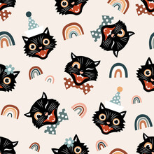 Vintage Black Cats And Rainbows Seamless Vector Pattern.