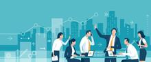 Business Illustration. Teamwork Growth Concept. Vector Illustration.