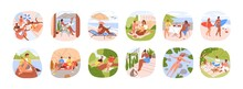 Set Of Summer Outdoor Activities. People Relaxing On Beach, Sea Resort, Nature On Holidays. Scenes Of Happy Man And Woman At Leisure Time. Flat Vector Illustrations Isolated On White Background