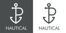 Logotipo Con Texto Nautical Y Silueta De Ancla De Barco Con Forma De Letra Inicial P Con Lineas En Fondo Gris Y Fondo Blanco