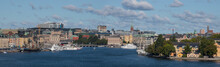 Panorama View Over The Inner Harbor Of Stockholm With The Old Sailing Replica Of The Swedish East Indiaman Götheborg