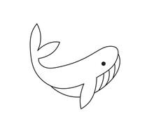 Vector Isolated Cute Cartoon Small Whale Doodle Drawing.  Colorless Black And White Contour Whale Simple One Line Contour Drawing.
