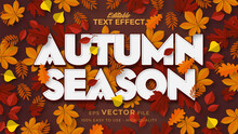 Editable Text Style Effect - Autumn Text With Maple Leaves Illustration