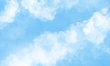 Sky With Beautiful Clouds. Cloud Background. Blue Cloud Texture Background. White Clouds On Blue Background