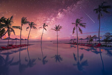 Palms Chairs Around Infinity Swimming Pool Near Sea Ocean With Palm Trees Beach At Night Sunset Time. Lifestyle Leisure Carefree Travel Vacation, Summer Resort Landscape. Fantasy Nature Landscape