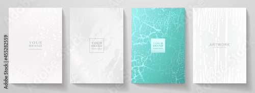 Contemporary cover design set. Art pattern with white splash paint, old cracked texture, smudge on black background. Artistic vector collection for notebook, flyer template, luxe grunge poster