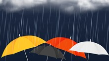 Monsoon Sale Banner. Colorful Umbrellas And Rainy Clouds. Autumn Rain Weather, Realistic Vector Illustration