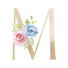 Floral Alphabet, Letter M With Watercolor Flowers And Leaf. Gold Monogram Initials Perfectly For Wedding Invitations, Greeting Card, Logo, Poster And Other Design. Holiday Design Hand Painting.