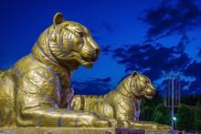 Statues Of Tigers In Amir Timur Park At Night, Samarkand, Uzbekistan