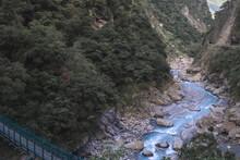 A Stream Flows Through A Beautiful Valley At Taroko National Park, Taiwan.